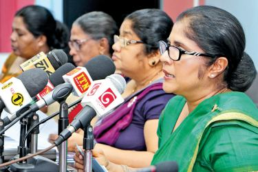 Child Affairs Minister Chandrani Bandara addressing the media yesterday at the Information Department   Picture by Saman Sri Wedage