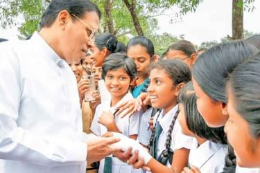 President Maithripala Sirisena with the students of St. Mary's College in Kegalle