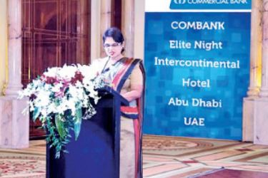 Commercial Bank's Personal Banking Deputy General Manager Sandra Walgama at the 'Elite Night' hosted by the Bank in Abu Dhabi.
