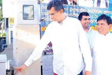 Megapolis and Western Development Minister Patali Champika Ranawaka opening the redeveloped Kottawa-Pannipitiya Road.
