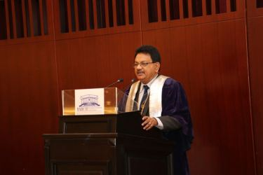 Archt. D. H. Wijewardene FIA (SL) addressing the members after being inducted as the President of Sri Lanka Institute of Architects (SLIA)