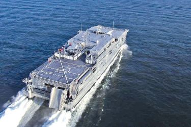 The U.S. Navy's expeditionary fast transport ship USNS Fall River.