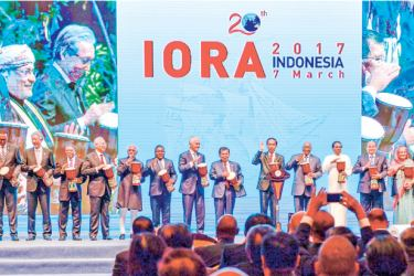The Indian Ocean Rim Association  (IORA) Leaders' Summit commenced  yesterday in Jakarta, Indonesia with the aim of achieving sustainable and balanced development of the member states in the region. President Maithripala Sirisena is seen with leaders of member countries at the inauguration.   Picture by Sudath Silva