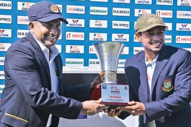 Rival captains Rangana Herath and Mushfiqur Rahim unveiled the Joy Bangla Cup that will be presented to the winners of the series prior to the commencement of the first Test at Galle.