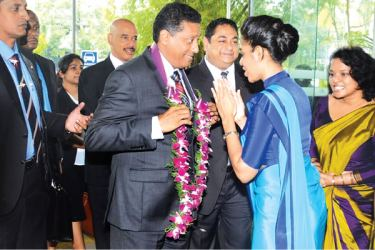 President of Seychelles welcomed at Hemas Hospital Thalawatugoda