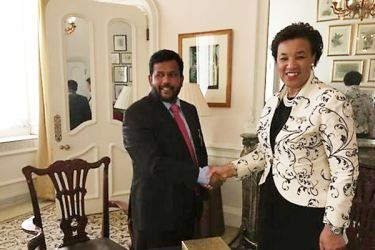 Industry and Commerce Minister Rishad Bathiudeen with Commonwealth Secretary-General Patricia Scotland