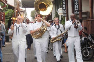 The US 7th Fleet band walks on the streets of Galle Fort.