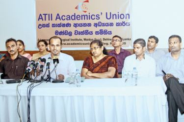 ATII Academics' Union President Ishar Ali, Secretary D. M. T. Chandika, Executive Committee Member Sandya Bandara and other members at the press conference. Picture by Saliya Rupasinghe