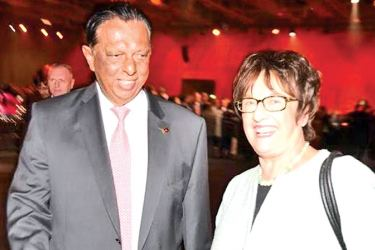 Minister Amaratunge with Germany's Federal Minister for Economic Affairs and Energy, Brigitte Zypries.