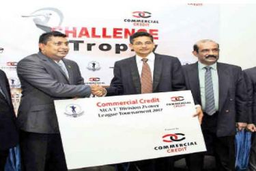 Here Deputy General Manager, Commercial Credit & Finance PLC - Shammi Jayatillake (2nd from left) handing over the sponsorship cheque to the President /MCA, Niran Mahawatte (3rd from right ). Others in the picture from left : Shafraz Jainudeen (Senior Manager Marketing - Commercial Credit & Finance), Nalin Wickremesinghe (General Secretary MCA) and Tarindra Kaluperuma (Secretary Tournament Committee - MCA).