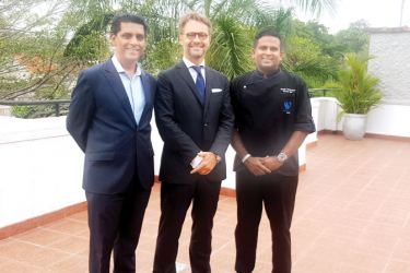 General Manager Waters Edge Rohan Fernandopulle, the Ambassador of France to Sri Lanka, H.E. Jean-Marin Schuh and Executive Chef at Waters Edge Buddhika Samarasekera