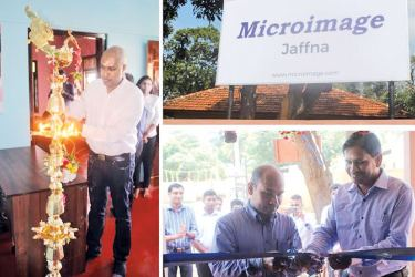 Harsha Purasinghe, Founder and CEO of Microimage Founder and CEO Harsha Purasinghe  lighting the traditional oil lamp, Microimage Head of Broadcast Technology Duxion Murugesu  and Dr. Thabotharan Kathiravelu of University of Jaffna Faculty of Computer Science opening the Jaffna Office.