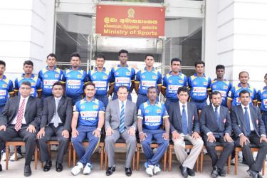 Sri Lanka Deaf Cricket Team to 3rd Asia Deaf Cricket Cup with Sports Minister Dayasiri Jayasekara