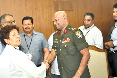 Major General Mahesh Senanayake receiving the Canadian delegation headed by Yasmin Abdulla Karim Ratansi