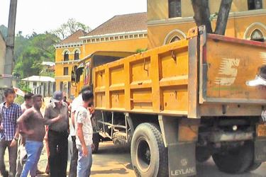 The sand transporting tipper which knocked down the girl