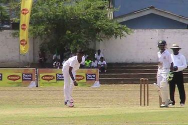 Right arm paceman Maleesha de Seram of St Thomas in action yesterday .
