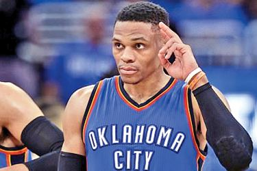 Russell Westbrook salutes the crowd on Orlando after scoring yet another triple-double