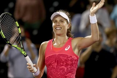 Johanna Konta of Great Britain celebrates defeating Venus Williams of USA in the semi finals at Crandon Park Tennis Center on March 30, 2017 in Key Biscayne, Florida.    Getty Images
