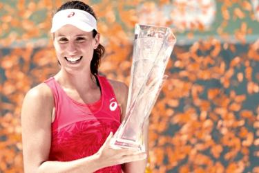 Johanna Konta of Great Britain holds the Butch Buchholz Trophy after her match against Caroline Wozniacki of Denmark (not pictured) in the women's singles championship of the 2017 Miami Open at Crandon Park Tennis Center. Konta won 6-4, 6-3.