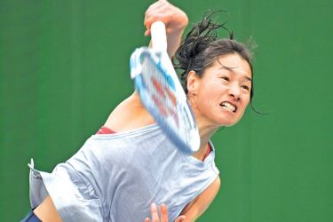 This picture taken on March 31, 2017 shows Japanese tennis player Kimiko Date taking part in a training session in Tokyo.  At the ripe of old age of 46, Date, the former world number four and part-time baker, insists she's not burnt-out yet as the Japanese star prepares for her latest comeback to professional tennis after a year of injury hell.  AFP