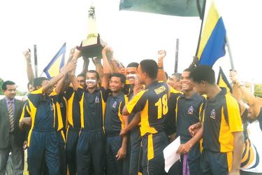 Matara Rahula cricketers celebrating their victory. Picture by Priyan De Silva