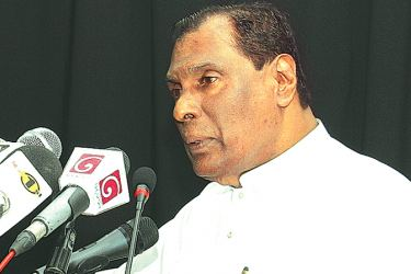 Labour and Trade Union Relations Minister W​. D. J. Seneviratne addressing the gathering.