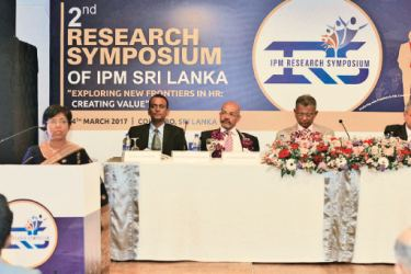 L-R Dr. Bhadra Arachchige- Symposium Co- Chair, Dr. Tissa Ravinda Perera- Symposium Co-Chair, Prof. Danture Wickramasinghe of the University of Glasgow, UK -Key Note speaker and Prof. Chandra Embuldeniya, Chief Guest, Founder Vice-Chancellor of the Uva Wellassa University- Prof. Ajantha Dharmasiri-President IPM Sri Lanka.