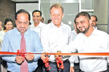 Hanif Yusoof  Founder and President, Peter Larsen  COO and Saif Yusoof  Managing Director of EFL Sri Lanka at the opening of the auditorium at EFL Campus in Orugodawatte.
