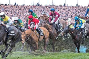 The Grand National Steeple Chase 2016 in progress at Aintree Liverpool. AFP