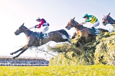 Derek Fox on One For Arthur in action during the 5:15 Randox Health Grand National on Saturday.