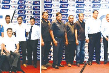 Members of the 2017 CEAT Racing Team with senior management of CEAT Kelani Holdings and representatives of SLADA and CEAT Kelani Holdings at the signing of the 2017 sponsorship agreement.