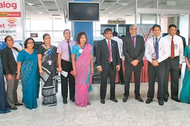 Chief executive officer SriLankan Airlines Capt. Suren Ratwatte together with senior officials of the  airlines awaiting  for the arrival of the flight UL1162 from Trivandrum yesterday.