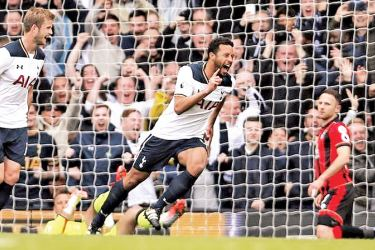 Tottenham's Mousa Dembele celebrates scoring their first goal in their Premier League match against AFC Bournemouth at White Hart Lane on Saturday.