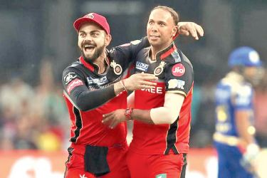 Samuel Badree celebrates with Royal Challengers Bangalore captain Virat Kohli after taking a hat-trick against Mumbai Indians in an IPL match played at Bangalore.