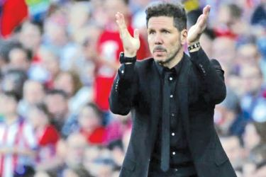 Atletico Madrid's coach Diego Simeone during the match.
