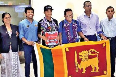 Aaron Gunawardena was warmly welcomed by the Sports Ministry, Sri Lanka Automobile Sports officials and friends at the BIA
