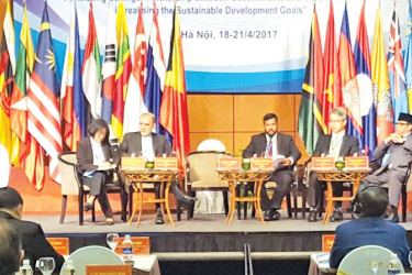 Minister Rishad Bathiudeen at the International Cooperative Ministers' Conference in Hanoi, Vietnam.