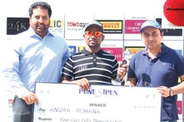 Sri Lanka's Anura Rohana collects a cheque for 4,50,000 (SLR 1,069,140) after winning the Pune Open 2017 golf title.