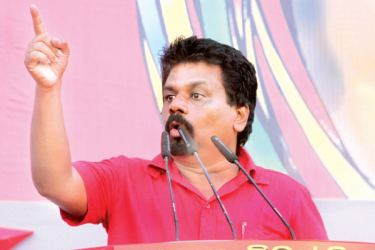 JVP Leader Anura Kumara Dissanayake addressing the May Day rally. Pictures by Sudam Gunasinghe