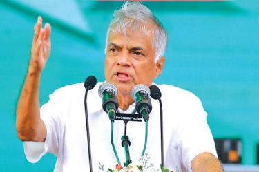 Prime Minister Ranil Wickremesinghe addressing the May Day rally. Picture by Hirantha Gunathilaka