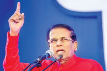 President Maithripala Sirisena addressing the May Day rally.  Picture by Sudath Silva