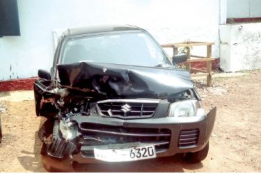 One of the two cars involved in the accident