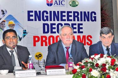 Director IMC AIC Belarus Dr Bhathiya Karunarathne, First Vice Rector BNTU Heorhi Viarshyna, Director BNTU International Institute of Distance Education Dr Igor Satikov, Executive Director and CEO Gishan Sumanasiri, Executive Director Dr Dharangan Bakthaseelan. Picture by Thushara Fernando.