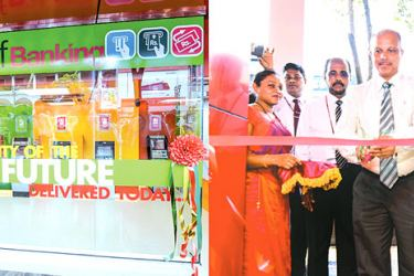 People's Bank officials at the opening of the Self Banking Unit in Kandy.
