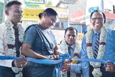 Samadanie Kiriwandeniya, the Chairperson of SDB bank along with Kumar Mayadunne  Chief Operating Officer of SDB bank, Government Agent of Badulla District and Deputy Co-operative commissioner of Badulla District, at the opening.