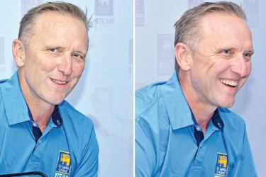 South African fast bowling legend Allan Donald at the media conference held at SLC headquarters yesterday. Pix by Saman Mendis