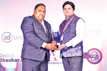 Commercial Bank's ICBS Central Branch Activities Unit Manager, Indika Wickramasinghe accepts the award on behalf of the Bank at the ceremony in Mumbai.