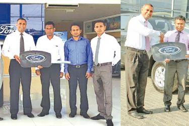 Oficials of National Hospital and Bank of Ceylon accepting the keys from Future Automobiles.