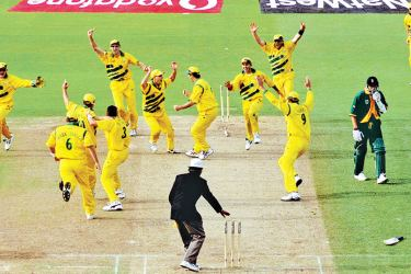 Allan Donald is run out and the game is tied and Australia are through to the 1999 World Cup final at Birmingham.