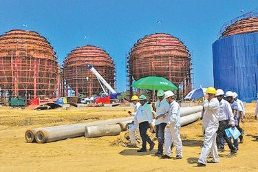 Laugfs LPG Import and Export Terminal under construction at Hambantota.